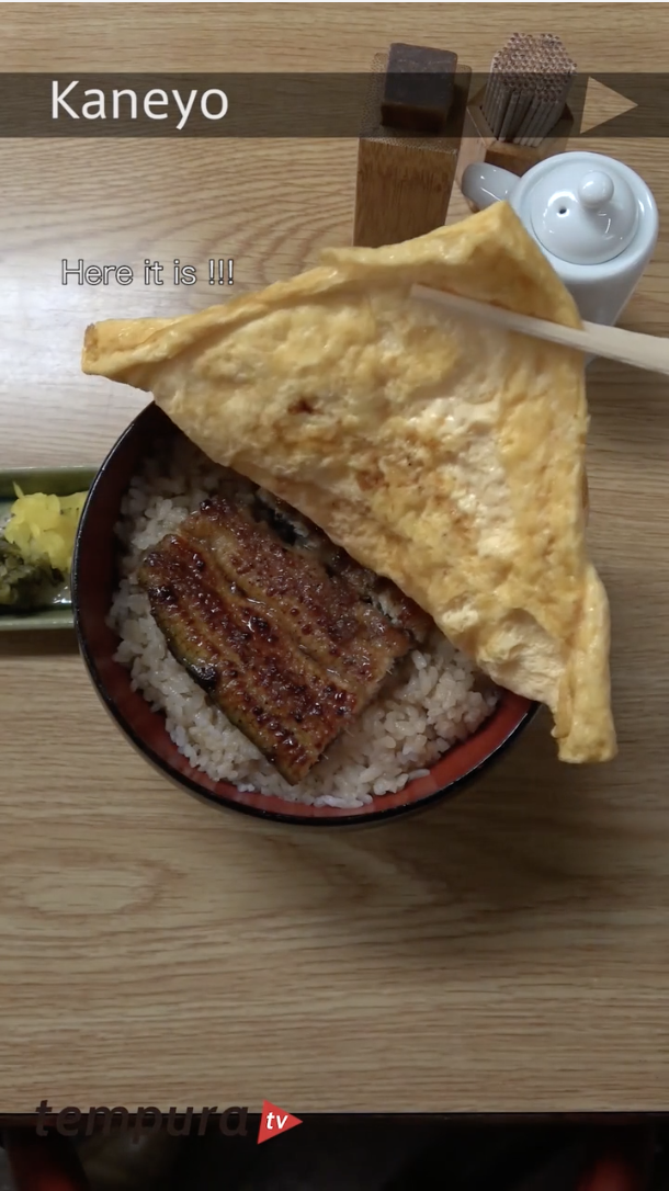 You gotta love it. Let's try beautifully grilled EEL on bowl of rice.